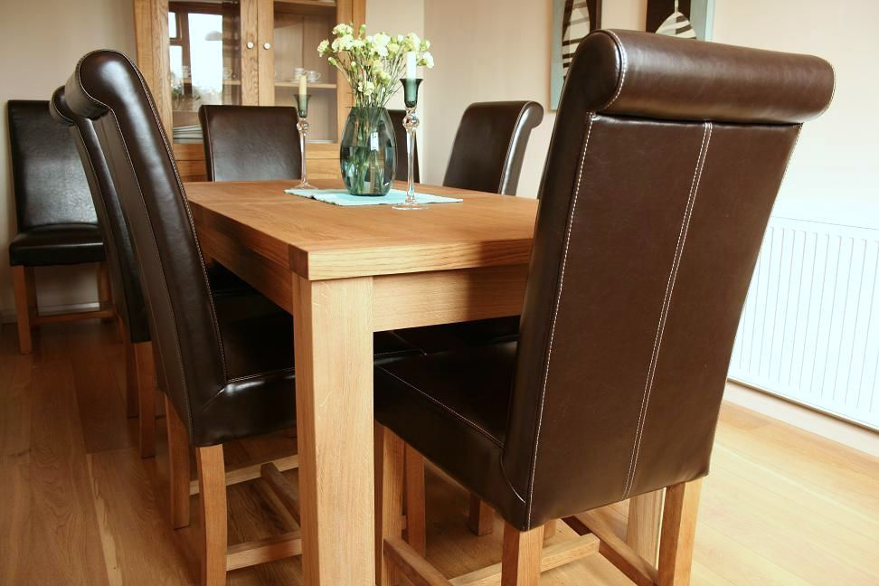 Luxury Tuscan Leather Dining Chair with Tallinn Table