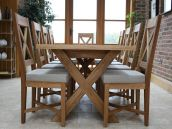 Cross Leg Oak Dining Table & Chairs.  Tables from £399