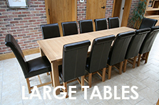 Large Dining Tables, Many large table designs available up to 4.2m in length to seat up to 20 people
