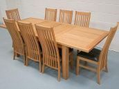 Table Just £399, Chairs £84.99, 8 Chair Set just £999.  Limited offer for this amazing double extending dining set !