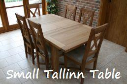 Small 1.2 - 1.7m Tallinn Oak Table - Just £389.  Shown with cross back linen chairs