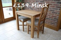 The £139 80cm x 60cm solid European oak Minsk dining table.  Even the Chinese cant match this price !