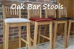 Java tall solid oak kitchen bar stools with leather seat pads